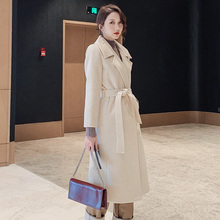 Women Elegant Winter Overcoat Bandage Woolen Long Coat Cardi