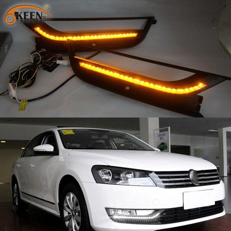 2PCS Led DRL For Volkswagen VW Passat B7 2012 2013 2014 2015 Daytime Running Lights Fog Head Lamp Cover Daylight NORTH AMERICA