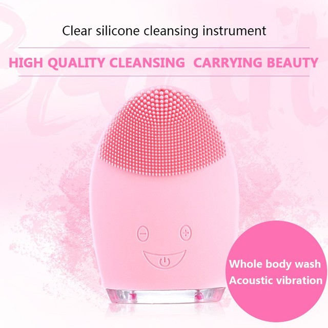 Electric Facial Cleansing Brush Silicone Sonic Vibration Mini Cleanser Deep Pore Cleansing Skin Massage Face Brush Phonophoresis 4