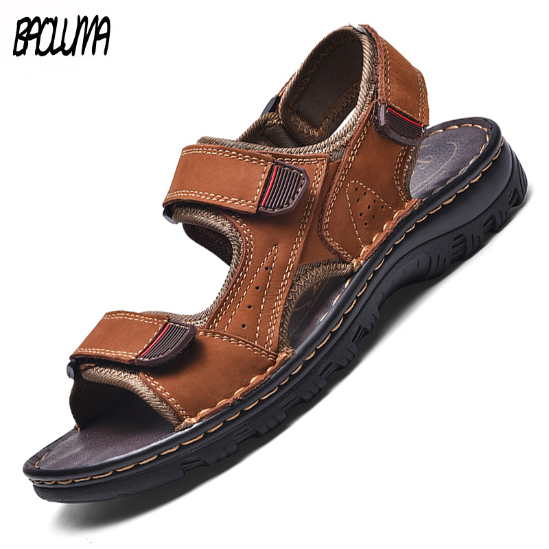 Brand Mens Gladiator Sandals Summer Leather Men's Sandals Comfortable Outdoor Men's Wading Shoes Simple Design Mens Style Shoes