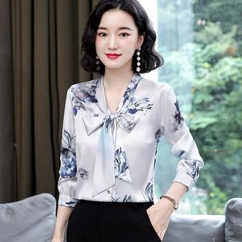 Best Sellers Fashion Silk Blouses Women Satin Print Blouse Women Long Sleeve Shirts Woman V-neck Silk Blouses Ladies Floral Blouse Plus Size — stackexchange