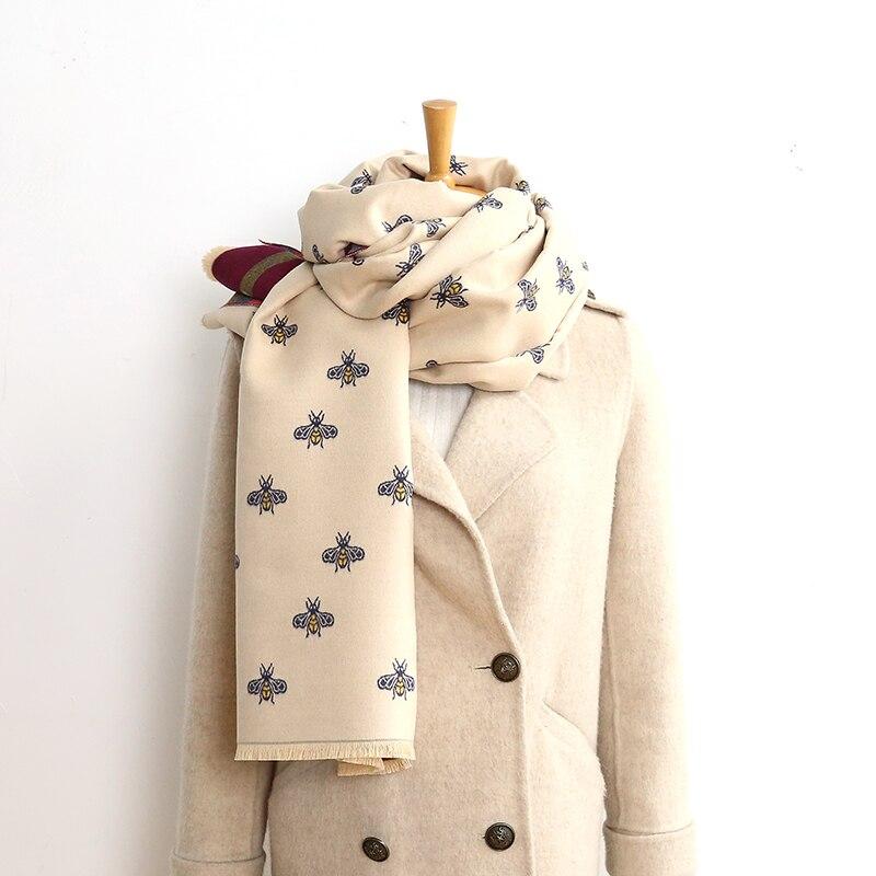 Bufanda de doble cara para mujer, pañuelo de Cachemira cálido para invierno, marca de lujo