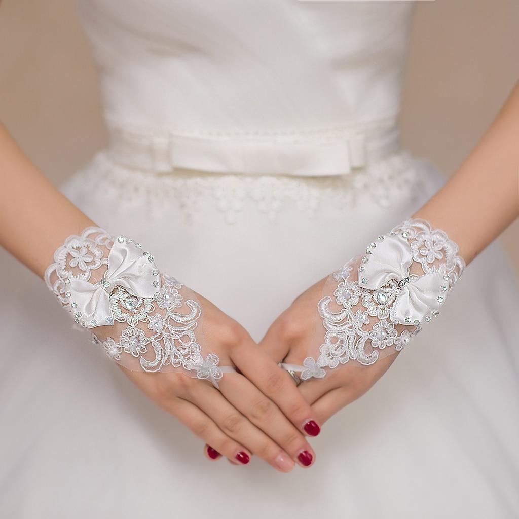 Ladies White Lace Fingerless Hand Short Bridal Wedding Gloves