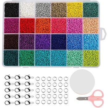 24000 шт Многоцветный 2 мм пони стеклянный бисер с застежками Омаров, открытый прыжок кольца и эластичная Хрустальная веревка