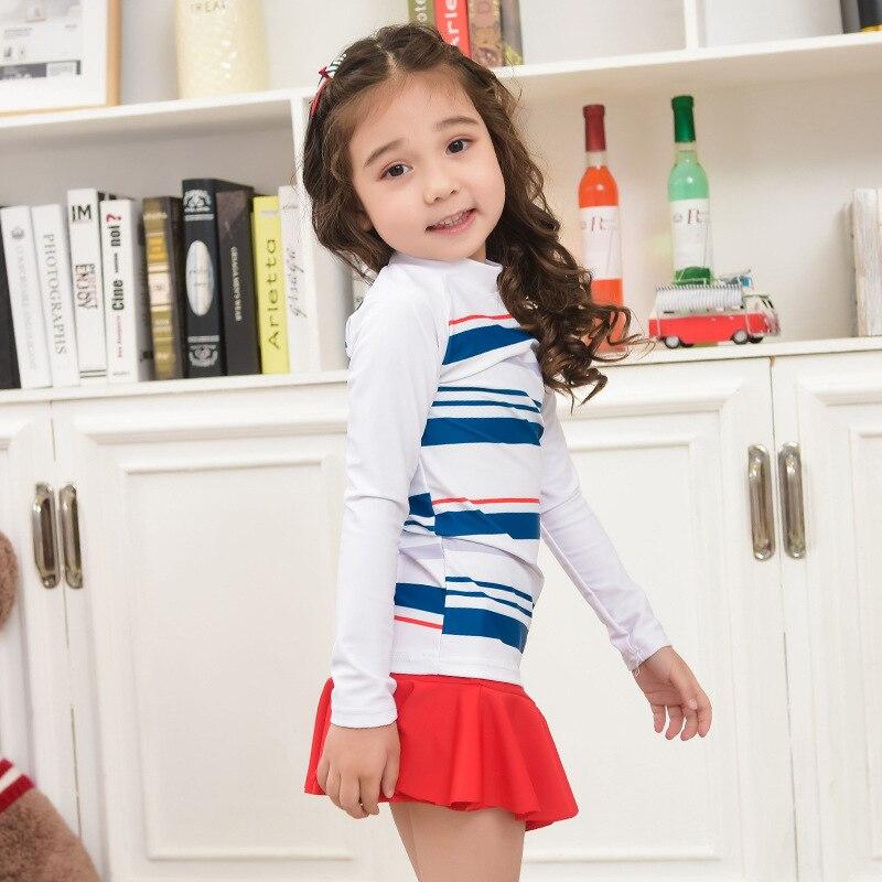 South Korea New Style KID'S Swimwear Girls Fashion Cute Stripes Sun-resistant Long Sleeve Baby Split Skirt-CHILDREN'S Swimsuit