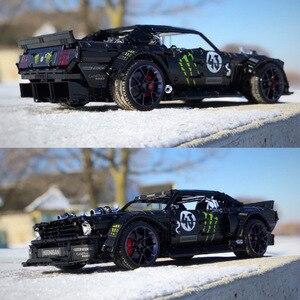 Image 1 - In Lager Technik Series Super Racing Auto RC Ford Mustang Hoonicorn RTR V2 Bausteine Ziegel Spielzeug für Kinder Geschenke