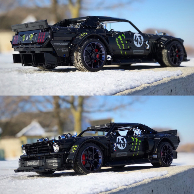 In Lager Technik Series Super Racing Auto RC Ford Mustang Hoonicorn RTR V2 Bausteine Ziegel Spielzeug für Kinder Geschenke