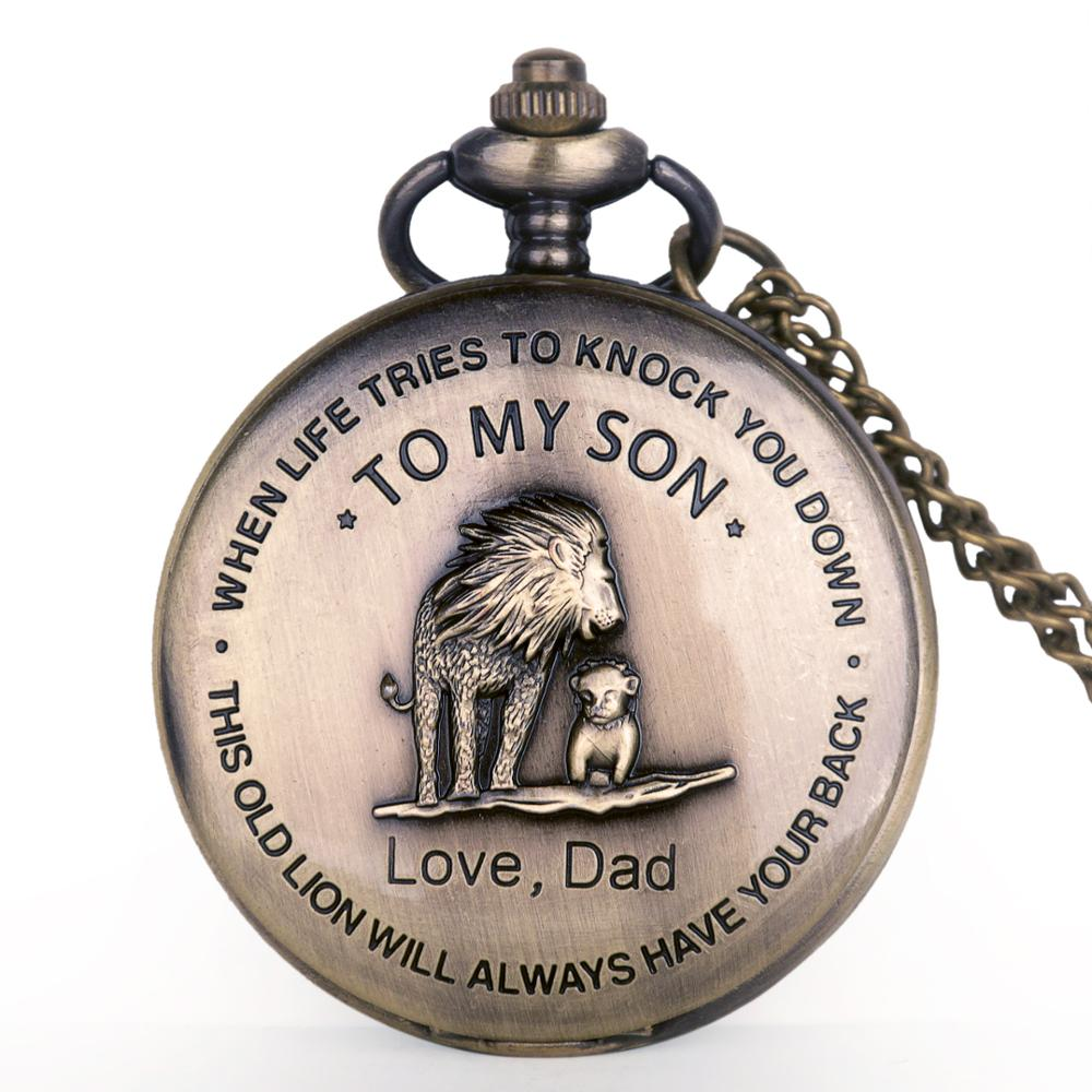 Drop Shipping Vintage Antiuqe Lion Dad Son Carving Word Quartz Pocket Watches Single Open Mens Necklace Chain Fob Watch For Gift