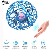 Mini Dron OVNI Holy Stone HT06 para niños, cuadricóptero teledirigido operado a mano con volteretas 3D, trucos de magia, pelota voladora, juguetes con luces sofisticadas