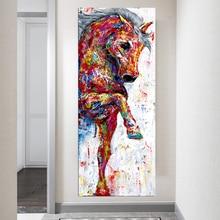 Pintura al óleo de caballo, arte moderno, cuadros de pared abstractos para sala de estar, póster de animales impresos, Cuadros decorativos Vintage sin marco