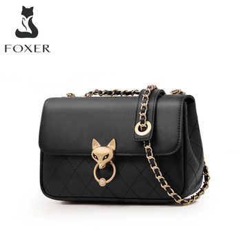 FOXER Black Street Fashion Girl's Crossbody Bag Cowhide Simple Large Capacity Lady Messenger Bag luxury Valentine's Day Present