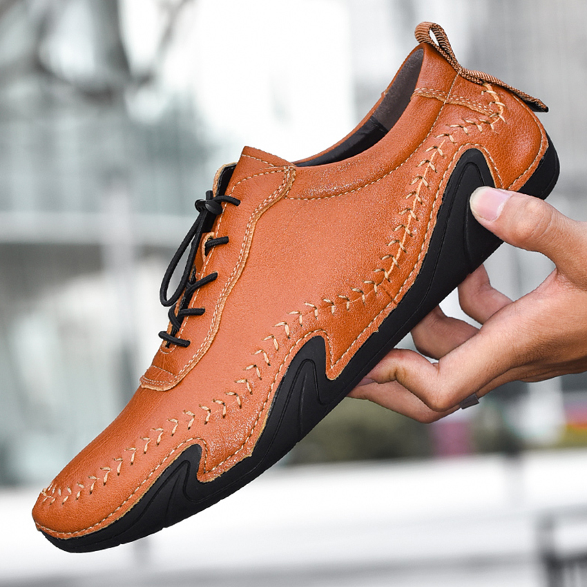 BIMUDUIYU Plus Size Men Casual Shoes Genuine Leather Octopus Soles Flats Hot Sale Leather Shoes Waterproof Moccasins Sneakers