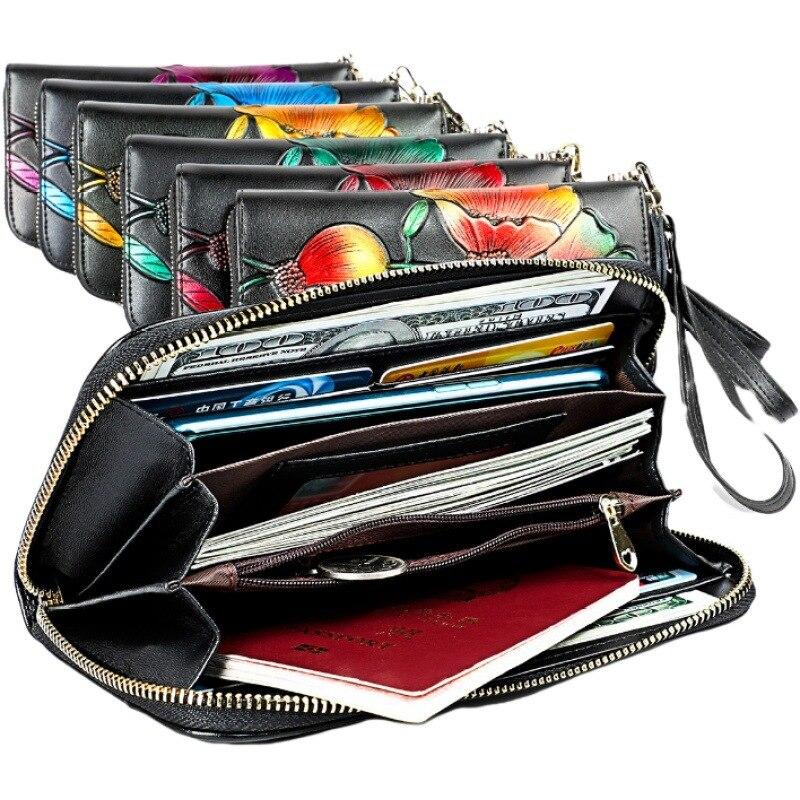 2019 New Style Women's Wallet RFID Genuine Leather Long Zipper Wallet Women's Cool Trend Handbag