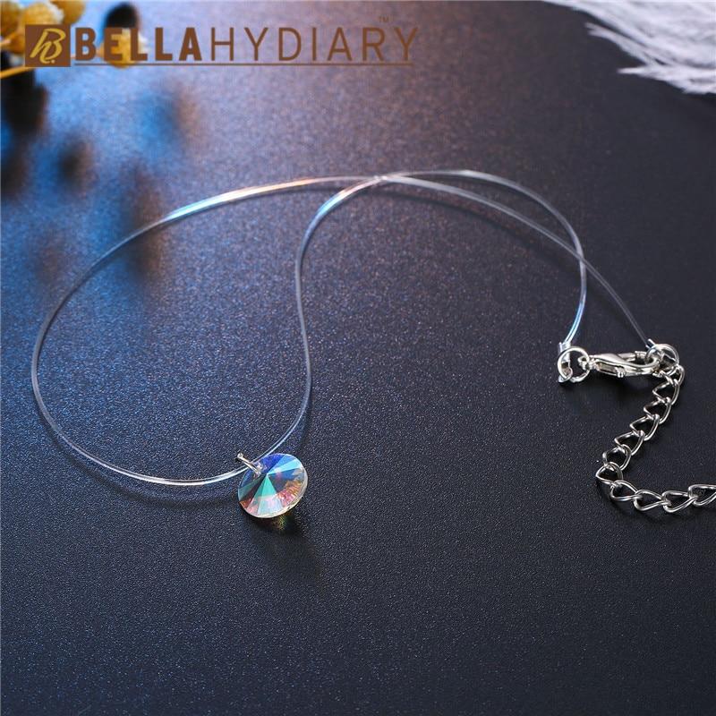 Bijoux Colorful Rhinestone Choker Necklaces Transparent Fishing Line Necklace Silver Invisible Chain Necklaces Pendants Collier (3)