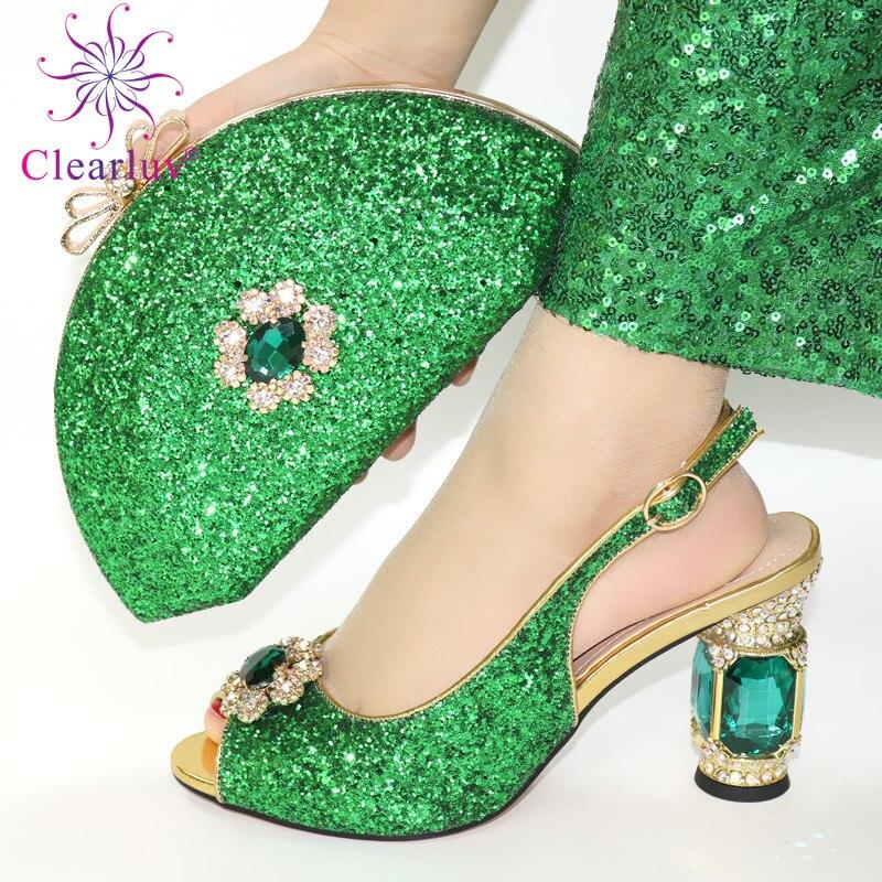 Nuevos zapatos italianos con juego de bolsos decorados con apliques, zapatos africanos y bolsos a juego, zapatos de tacón para mujer Nuevas botas a la moda para mujer, tacón de aguja, puntiagudas, botas de tacón alto largo de piel sin cordones, zapatos formales con tacón