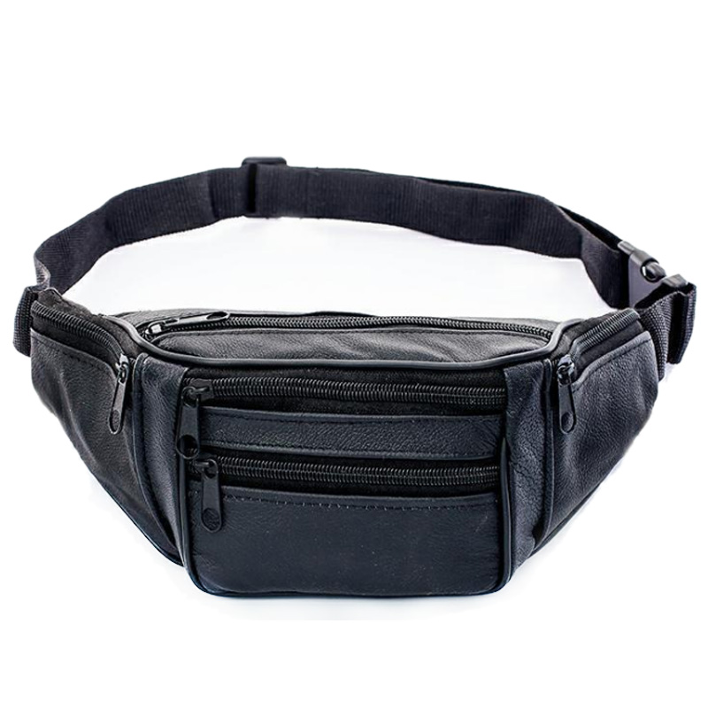 Genuine Leather Waist Packs Man Belt Bag Male Fanny Pack Shoulder Crossbody Travel Bag Soft Cell Phone Pocket