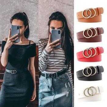 Double Ring Belts For Women Fashion Dress Jeans Belt PU Leather Metal Buckle 1