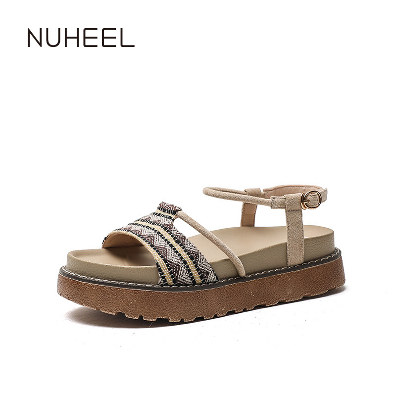 NUHEEL Women's Shoes New Retro Literary Wild Sandals Women's Thick Bottom Holiday Style Women's Shoes
