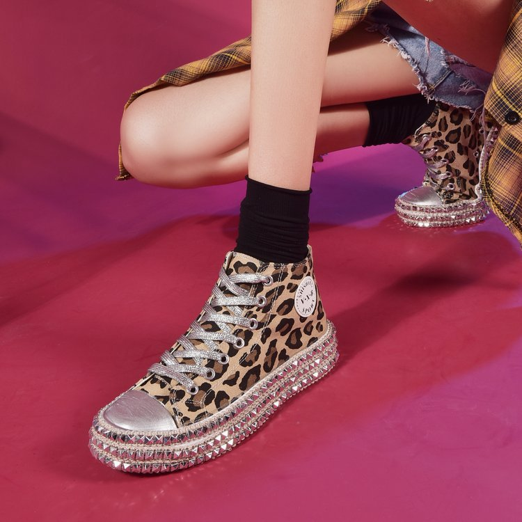Koznoy Ins Leopard Sequined Canvas Shoes Women Spring Autumn Dropshipping Wipe Color Willow Nail Thick Bottom Casual Women Shoes in Women 39 s Flats from Shoes