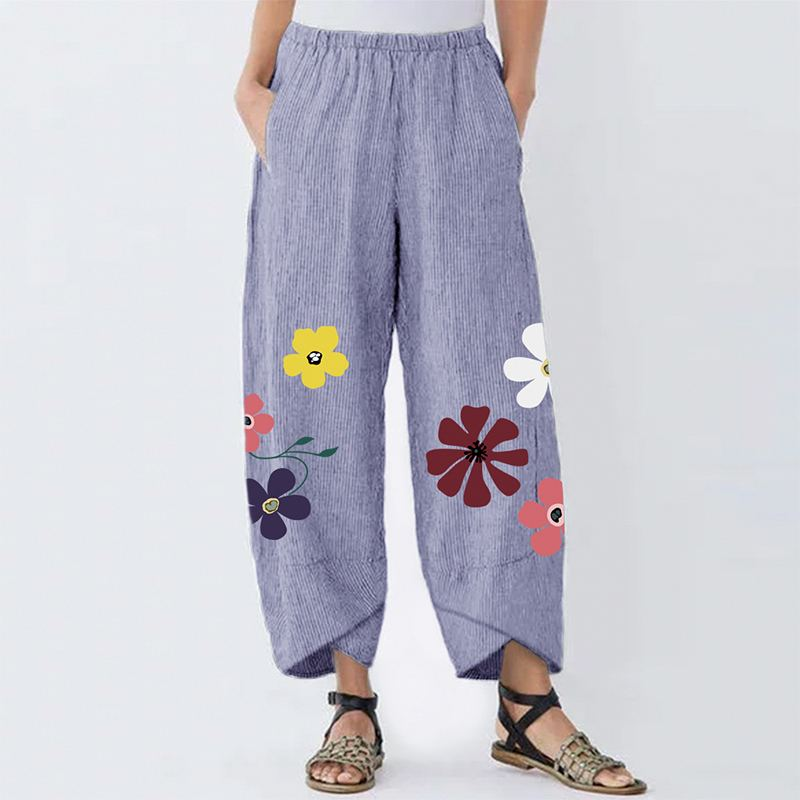 2020 Vintage Flowers Printed Pants Women Casual Irregular Hem Long Trousers Female Cotton Stripe Pockets Pantalon Streetwear 5XL