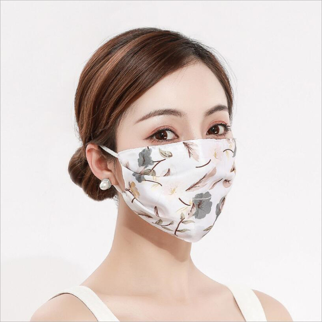 2pcs Fashion Printing Chiffon Mouth Mask Reusable PM2.5 Protective Face Cover Dust Face Mask Bacteria Proof Flu Mouth Muffle 1