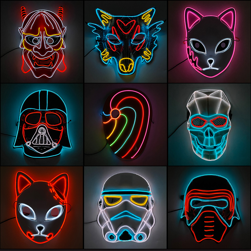New Designed Glowing Halloween Party Mask Flashing LED Masks EL Neon Light Cosplay Mask Costume Props Glow Party Supplies