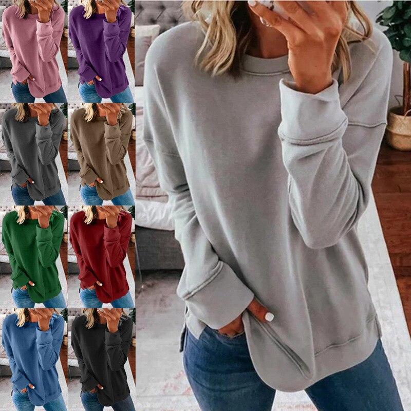 Women's T-Shirt Collar-Set Spring Hot-Style Long-Sleeved Ladies MYJ120 Round Loose Fleece