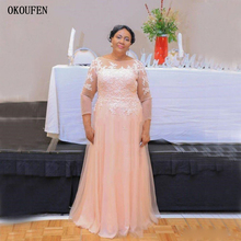 2019 Blushing Mother Of The Bride Dresses Sheer Neck Lace Appliques Beaded Tulle Long Sleeves Plus Size Party Dress Wedding Gown