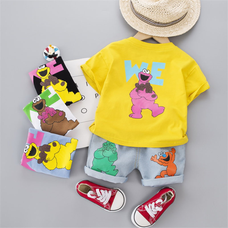 New Summer Baby Boy Girls Clothes Children Cotton Printed T Shirts Denim Shorts jeans 2Pcs/sets Infant Kids Toddler Tracksuits 1