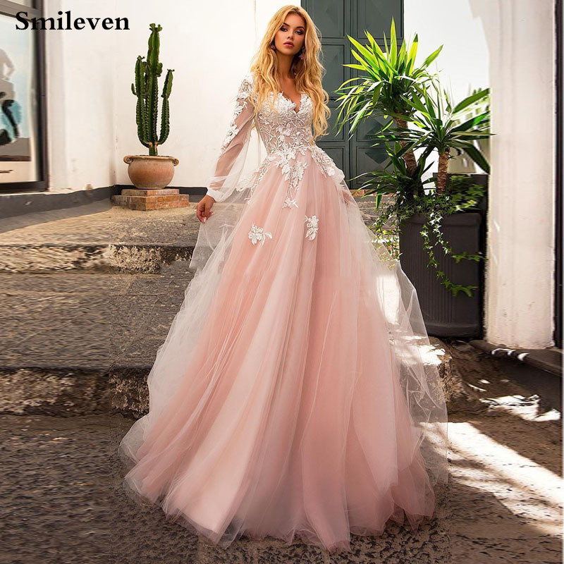 Smileven Bohemian Lace Wedding Dress Puff Sleeve A Line V Neck Appliqued Lace Bridal Dresses Princess Vestido De Noiva