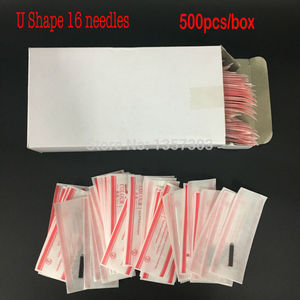 Image 1 - 500 Pcs 16 פין מחט U צורת גבות קעקוע מעולה Microblading להבי איפור קבוע ידני עט 3D גבות רקמה