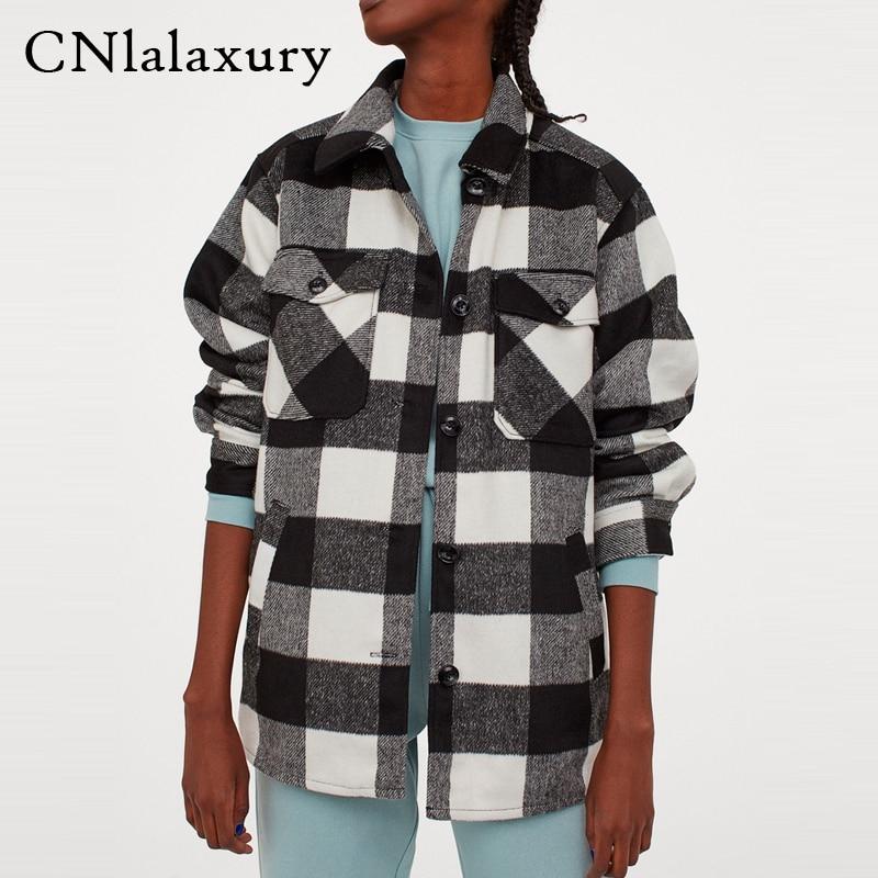 Винтажная стильная куртка с карманами оверсайз, клетчатая куртка, пальто для женщин 2020, модная рубашка с отложным воротником и длинными рукавами, куртки, верхняя одежда|Куртки|   | АлиЭкспресс