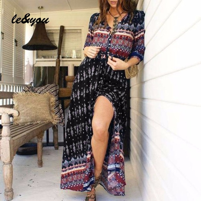 Women's dress Summer Vintage sexy bohemian Oversized fashion long sleeve robe 6
