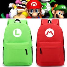 Gra Super mario plecaki charakter Luigi plecak kawaii koreański japonia styl prosty nylonowy plecak podróż Mochila tanie tanio Tłoczenie Unisex Miękka 20-35 litr Wnętrze slot kieszeń Wnętrza przedziału Miękki uchwyt NONE zipper Solidna torba