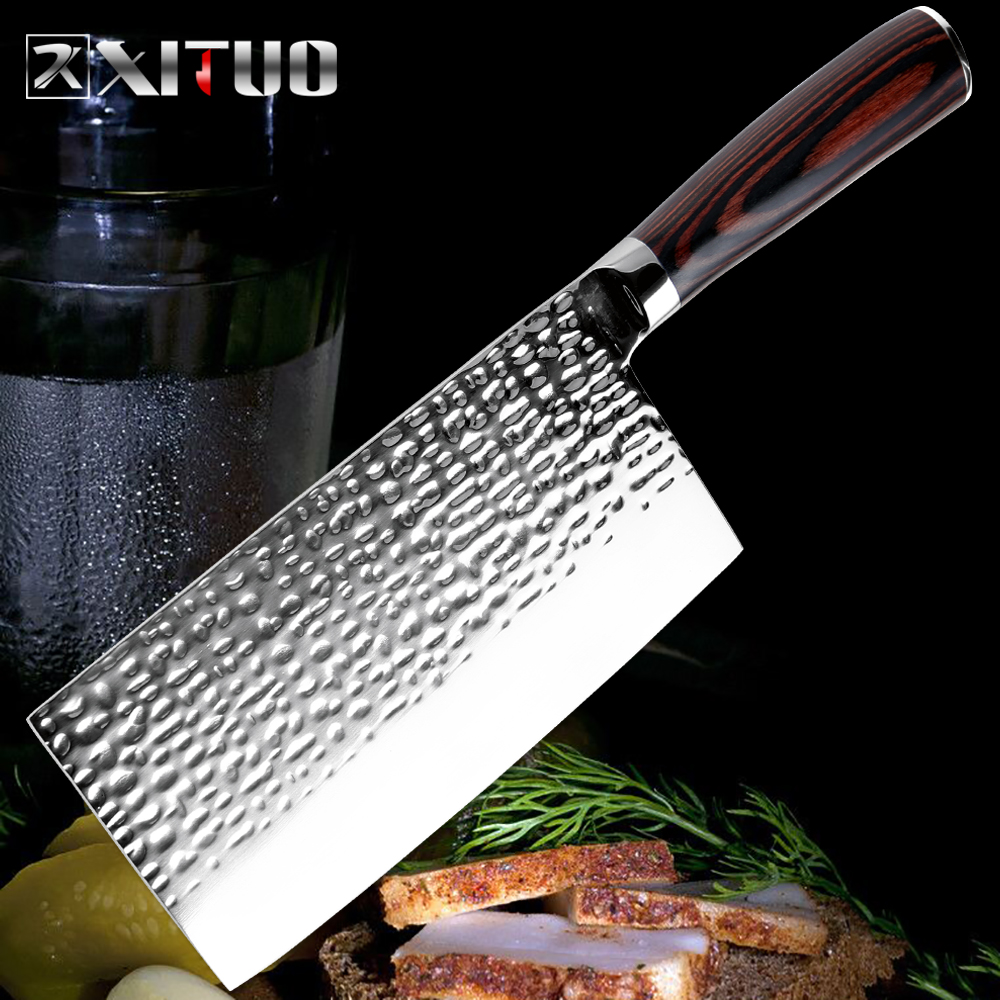 XITUO Stainless Steel Chef Knife Forging Anti-stick Sharp Cleaver Fish Vegetable Chinese Kitchen Knife Household Cooking Tools