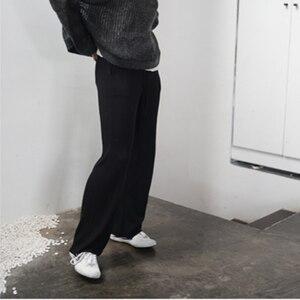 Image 2 - ارتفاع الخصر الكشمير بنطال ذو قصة أرجل واسعة المرأة بنطلون فضفاض غير رسمي الصوف البرية السراويل الخريف والشتاء محبوك الصوف السراويل ارتداء