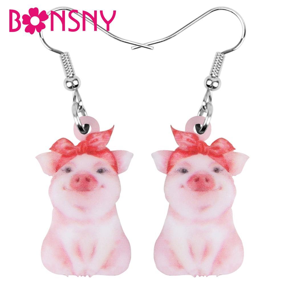 Bonsny Acrylic Valentine's Day Headband Pig Piggy Earrings Animal Drop Dangle Jewelry For Women Girls Teen Charm Decoration Gift