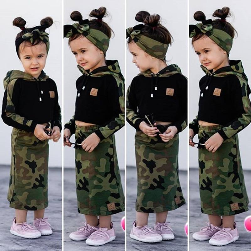 Комплект модной осенне-зимней детской одежды из 3 предметов для девочек, камуфляжный свитер с капюшоном + юбка + повязка на голову, одежда для...