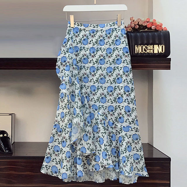 Plus Size Women's Skirt Suit 2021 Summer New Fashion Flower High-waisted Loose Skirts Two Piece Girl Sweet Bow Light Dress Set 5