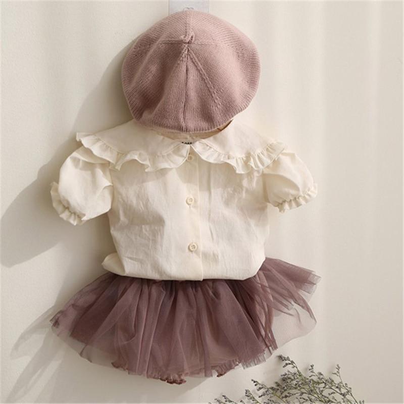 Корейский стиль 2020, летние хлопковые рубашки для маленьких девочек с оборками на воротнике и пышными рукавами, детские топы, Симпатичные бл...