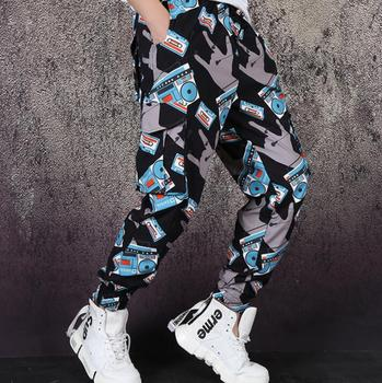 mens loose pants stage personality Vintage tape recorder print pant men trousers singer dance rock fashion street novelty b621