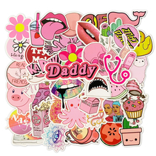 50Pcs Pink Girls PVC Cartoon Cute Stickers Toys Decor For Car Laptop Phone Trunk Guitar Bicycle Motor Refrigerator