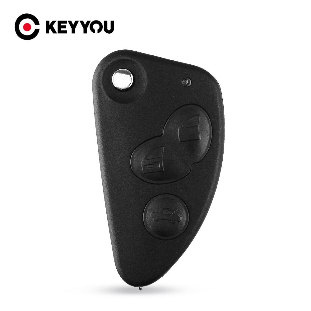 Автомобильный ключ KEYYOU 2, 3 кнопки, откидная оболочка ключа дистанционного управления, Fob Uncut SIP22 Blade для Alfa Romeo 147 156 166 GT, Автомобильный ключ