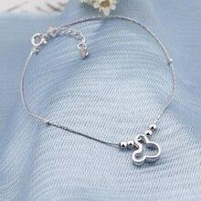 925 серебряный милый ножной браслет с мультяшной мышкой Ретро Крест из бисера Шарм ножной браслет для женщин ювелирные изделия подарок JL006