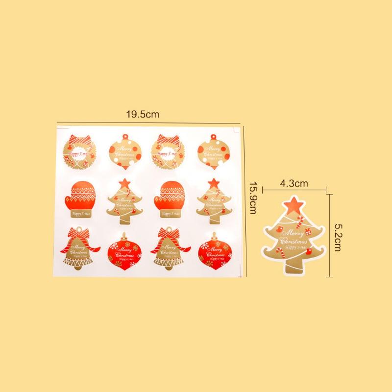 Купить с кэшбэком 120pcs/100Pcs/90pcs/lot Stamp Shape Seal Sticker Lable Christmas Gift Decor Stickers Bakery Cookie Packaging Bag Multi Style