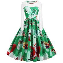 Large Size Print Dress For Women 2019 Autumn New Vintage Christmas Dresses Long Sleeve Elegant Fashion Plus S-5XL