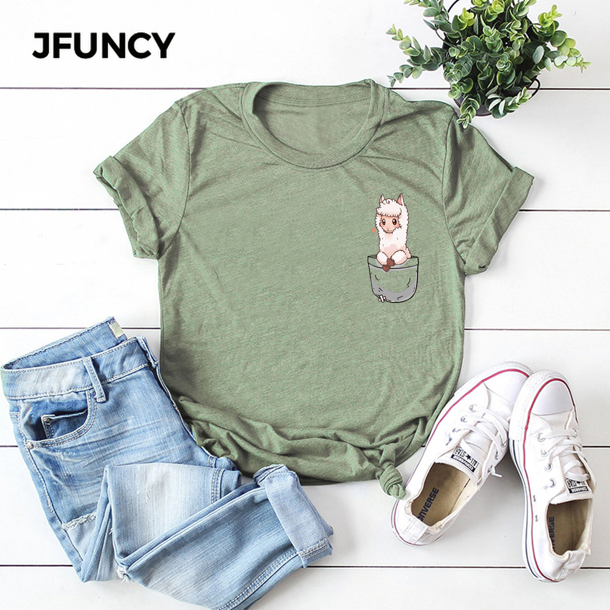 JFUNCY Cartoon Pocket Print Plus Size Women Loose Tees Tops 100% Cotton Summer Shirts Woman T-Shirt Fashion Female Casual Tshirt