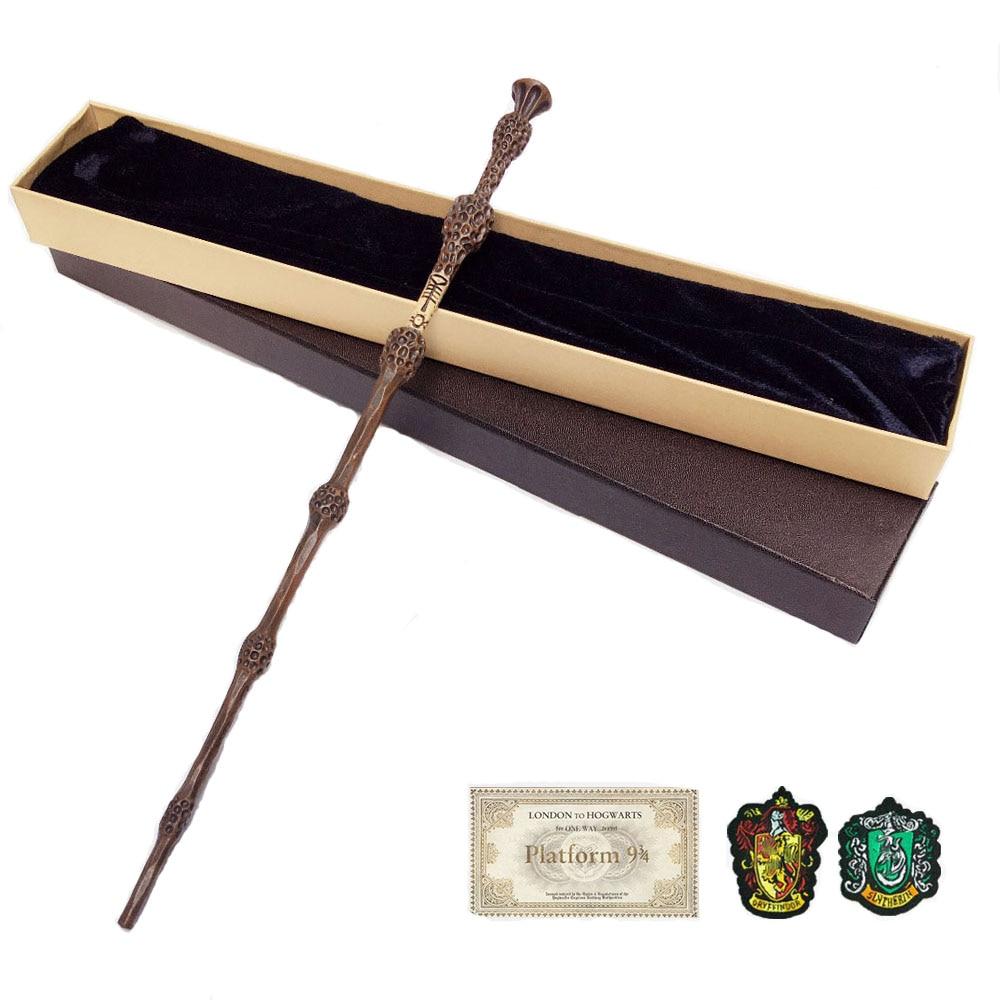 35-42cm metal núcleo potters varinha mágica 20 espécies cosplay dumbledore voldemort malfoy snape varinhas brinquedos bilhete distintivo como presente gratuito