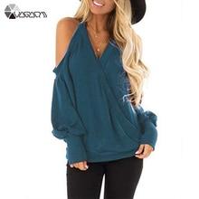купить Winter Autumn Women T Shirt Halter Neck Solod Color Pullover Casual Loose Tee Shirt Sexy V Neck Cross Top Sweatshirt Plus Size по цене 896.21 рублей
