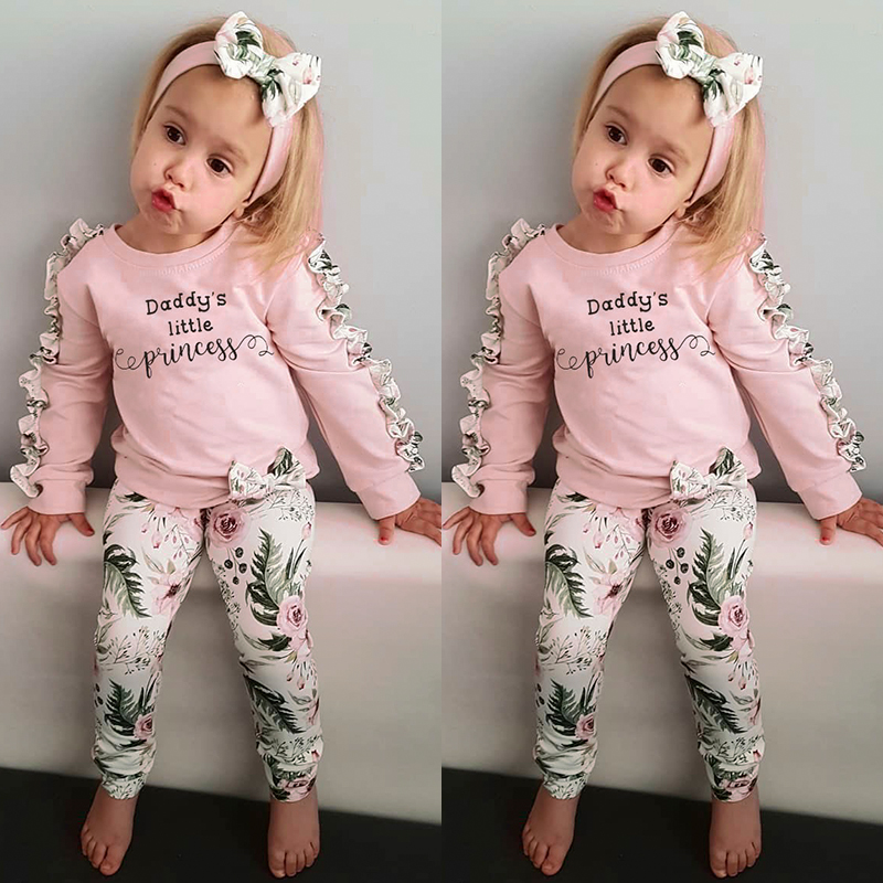 Bowknot Pants Outfit 2pcs Kids Girl Daddy/'s Little Princess Ruffles Top Shirt